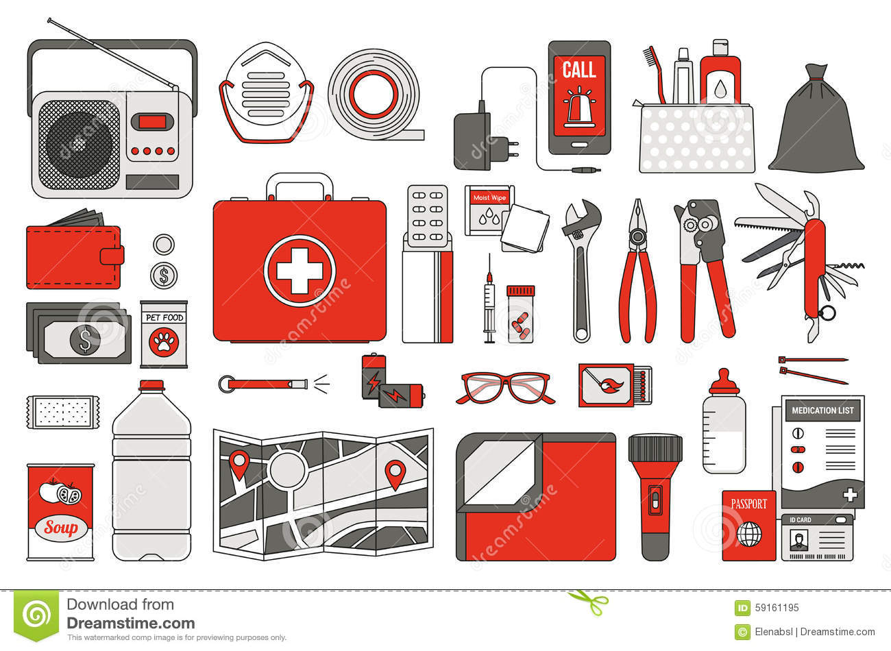 Survival Emergency Kit Stock Vector Image Of Catastrophe