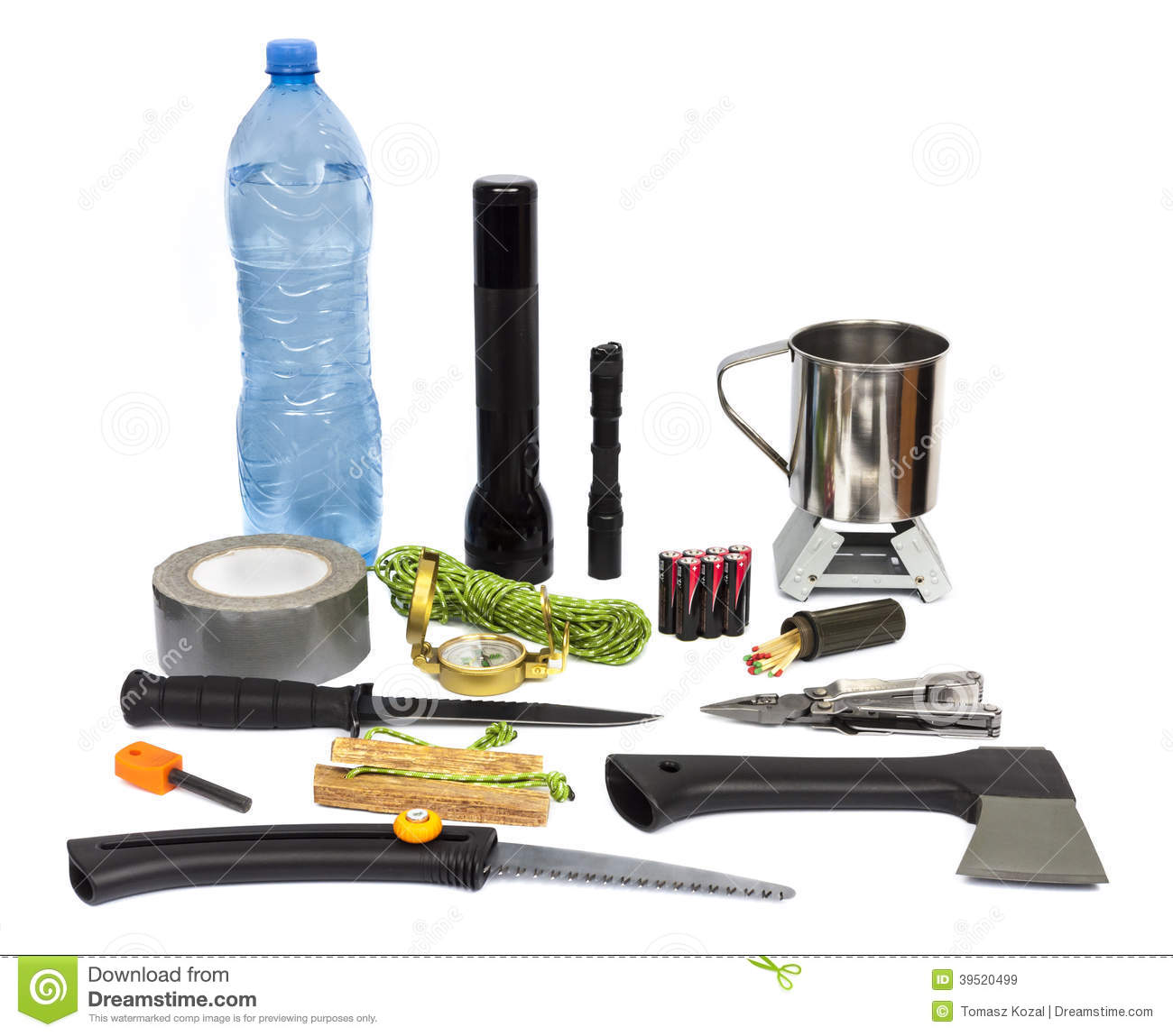 Survival Kit With Emergency Supplies Stock Photo Image 39520499