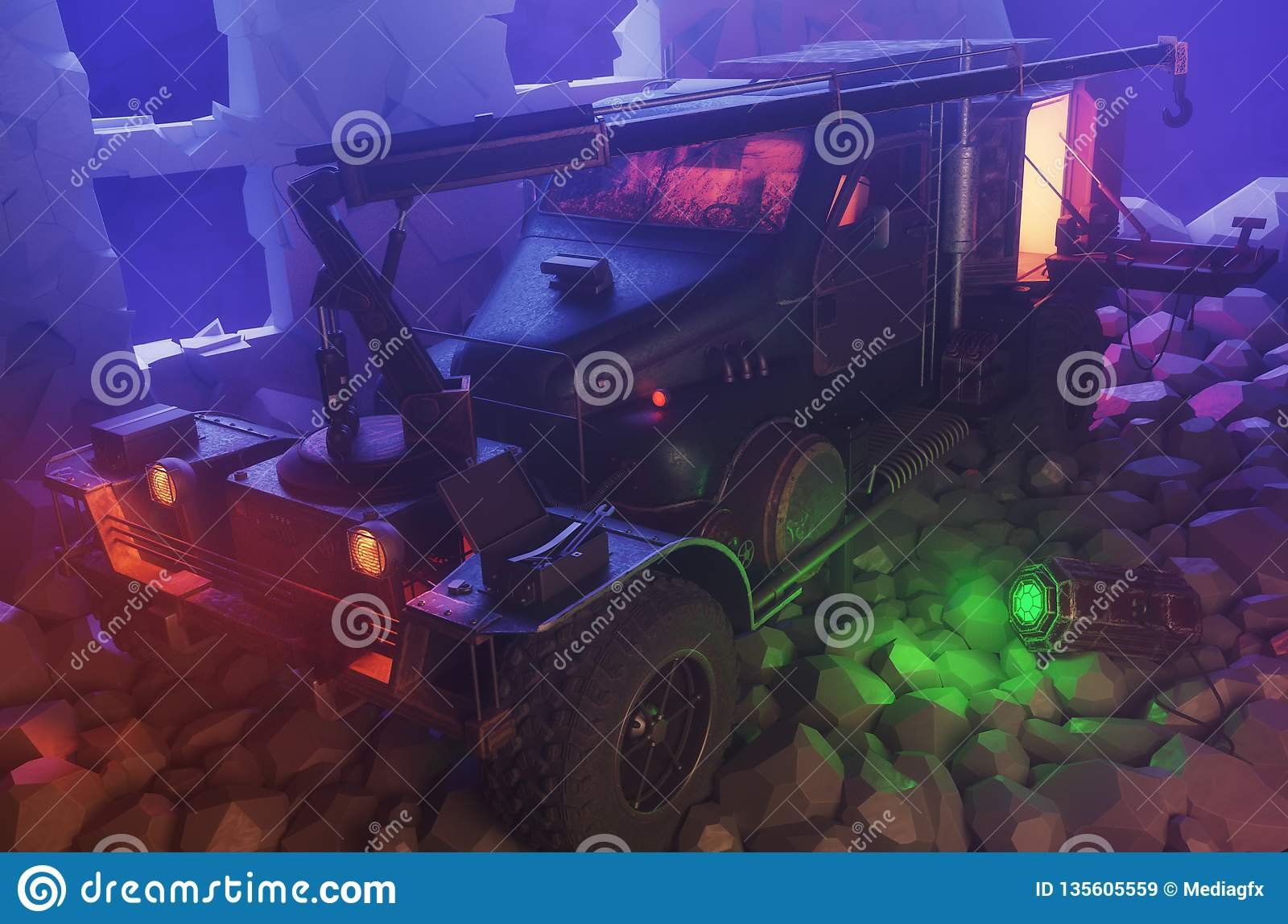 Survival post apocalyptic truck with crane on ruins, zombie car or resource harvester, 3d render
