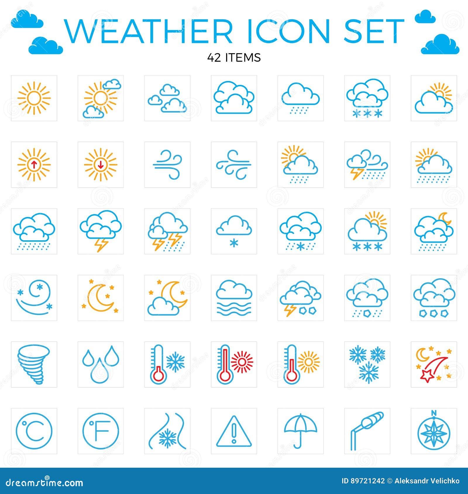 Survivez au positionnement de graphisme Ligne icônes 42 articles Nuages, le soleil, pluie, umbrel