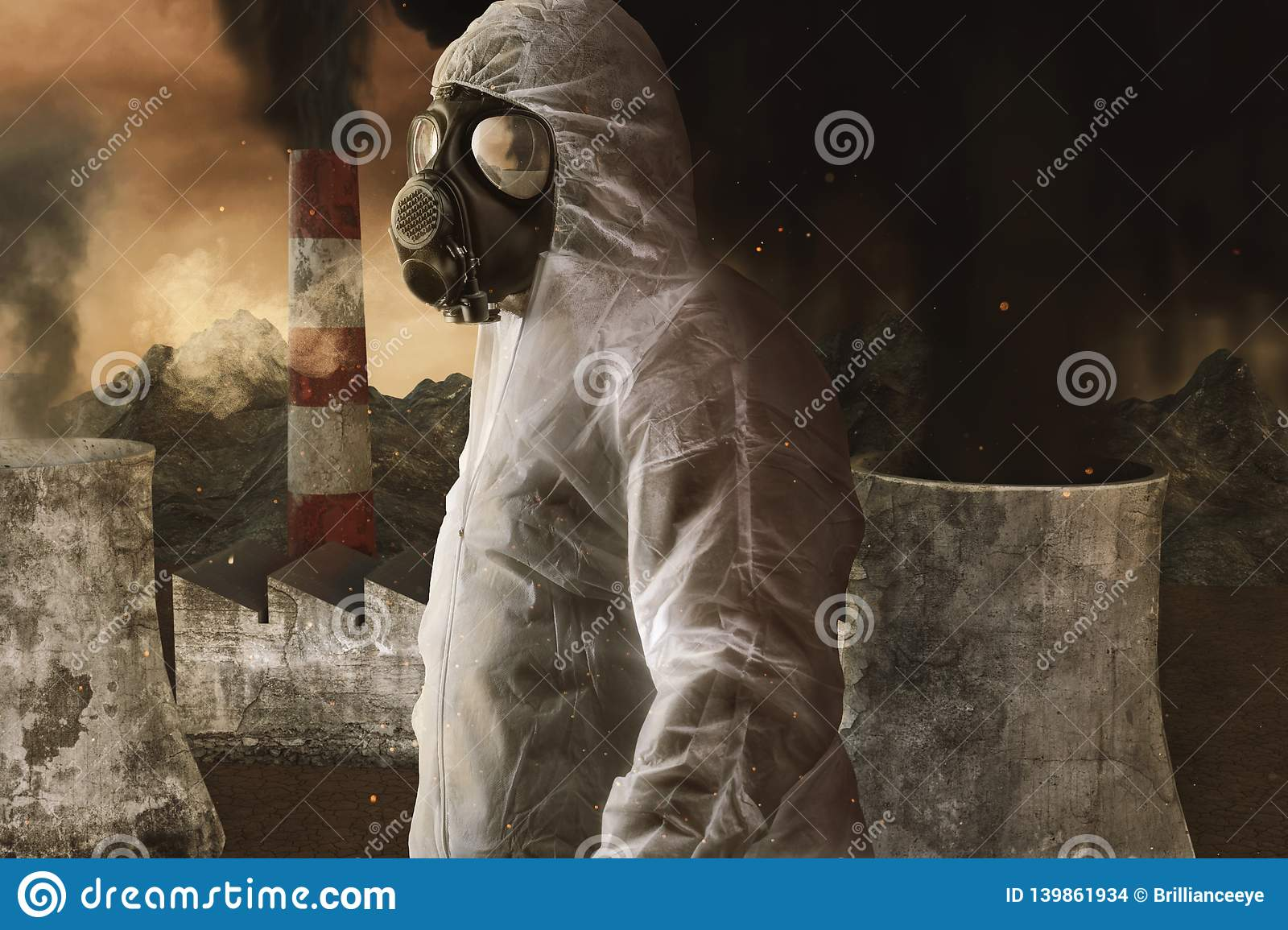 Survivor with white overall and gas mask in front of incineration plant and apocalyptic environment