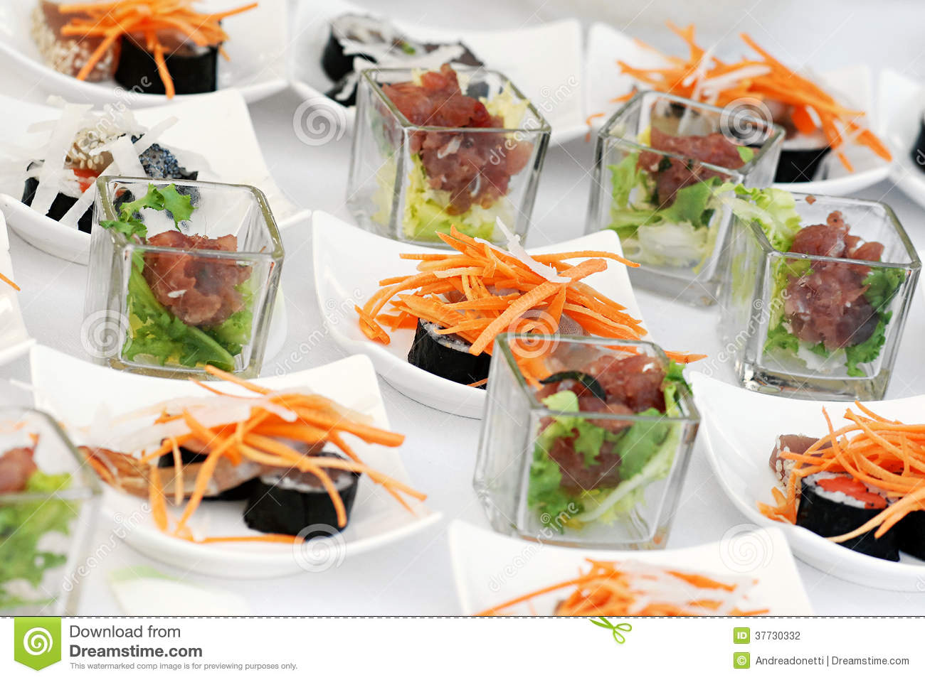 Sushi Appetizers On A Buffet Table Stock Photography  : sushi appetizers buffet table 37730332 from www.dreamstime.com size 1300 x 957 jpeg 159kB