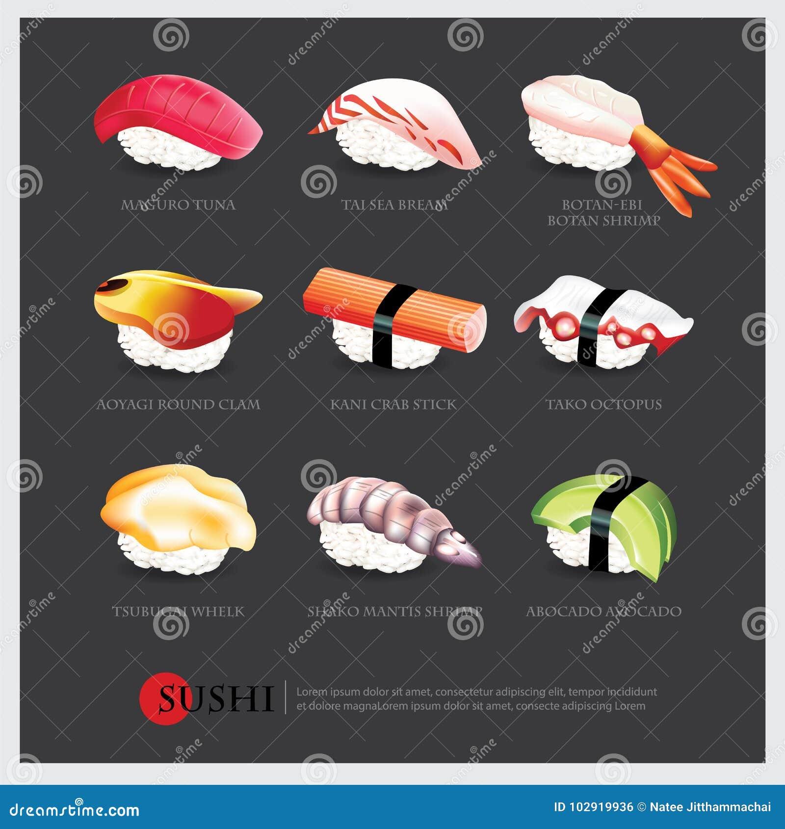 Sushi asian food realistic isolated