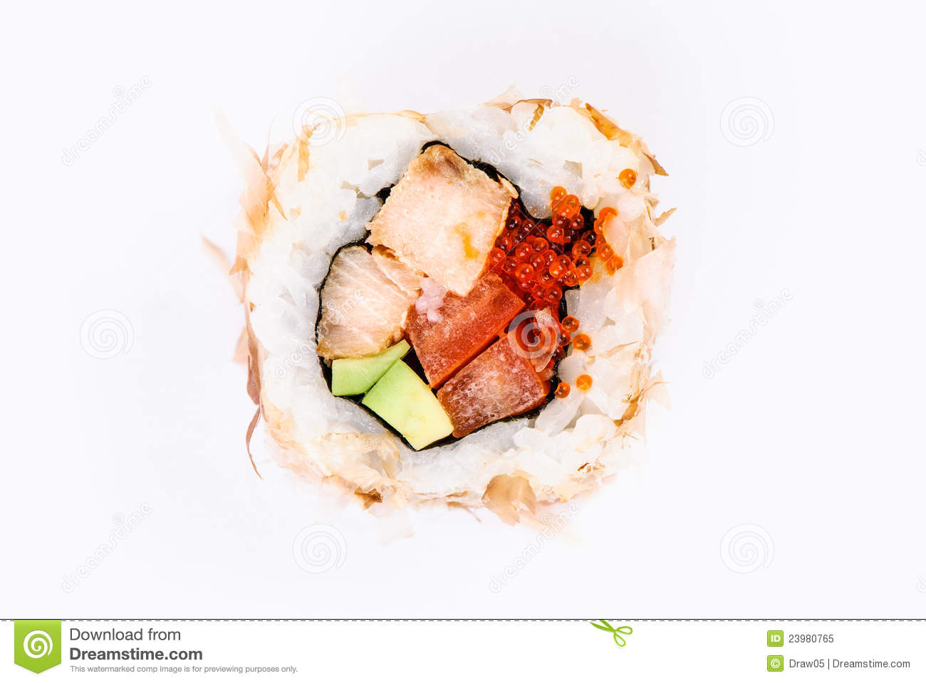 Sushi with avocado fish and red caviar top view stock for Best fish for sushi