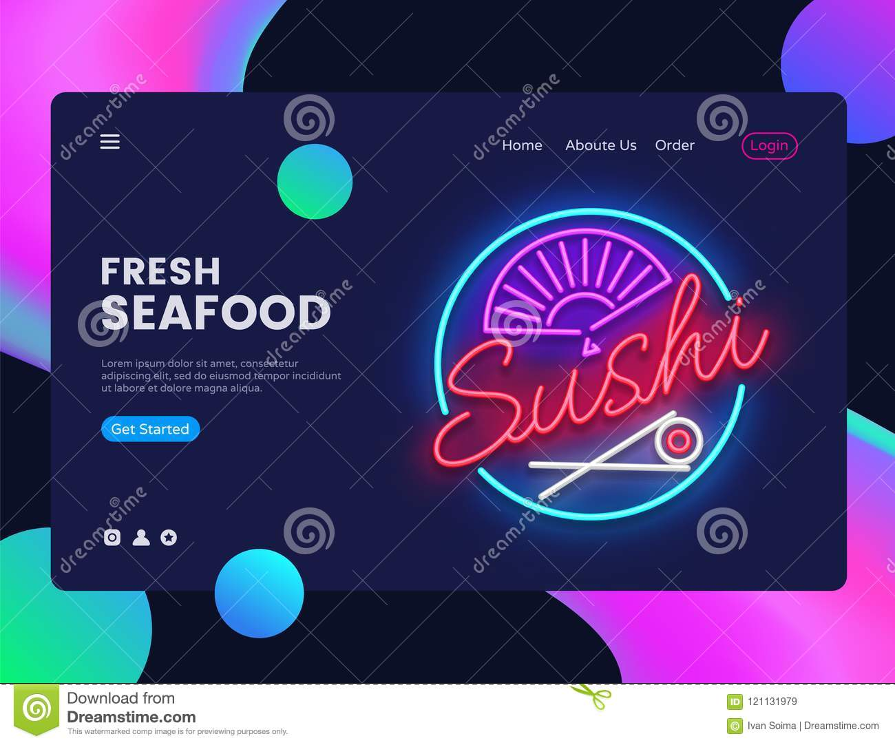 Sushi banner design template vector. Seafood web banner interface, Neon sign, modern trend design, neon style web banner