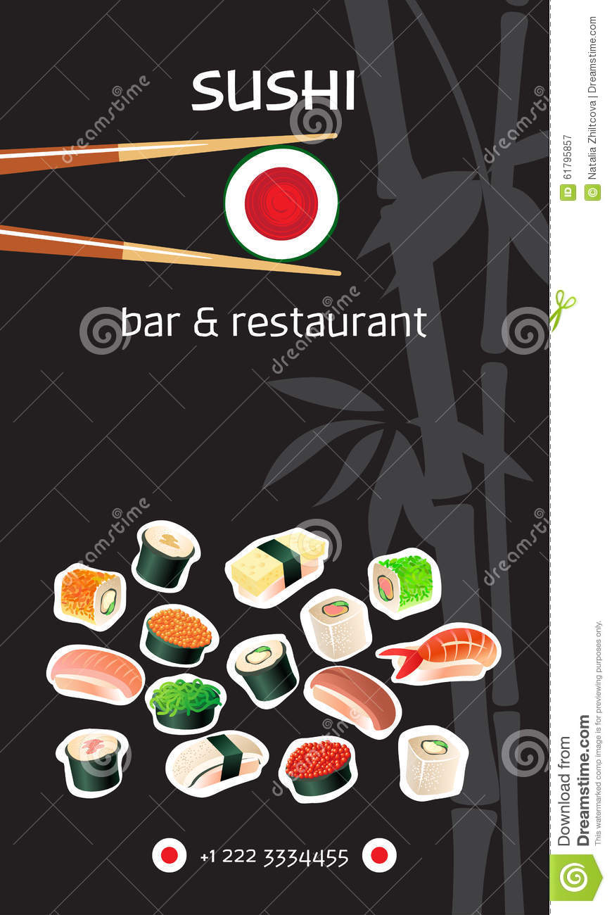 Sushi Bar Flyer Template Japanese Cuisine Vector Image – Bar Flyer Template