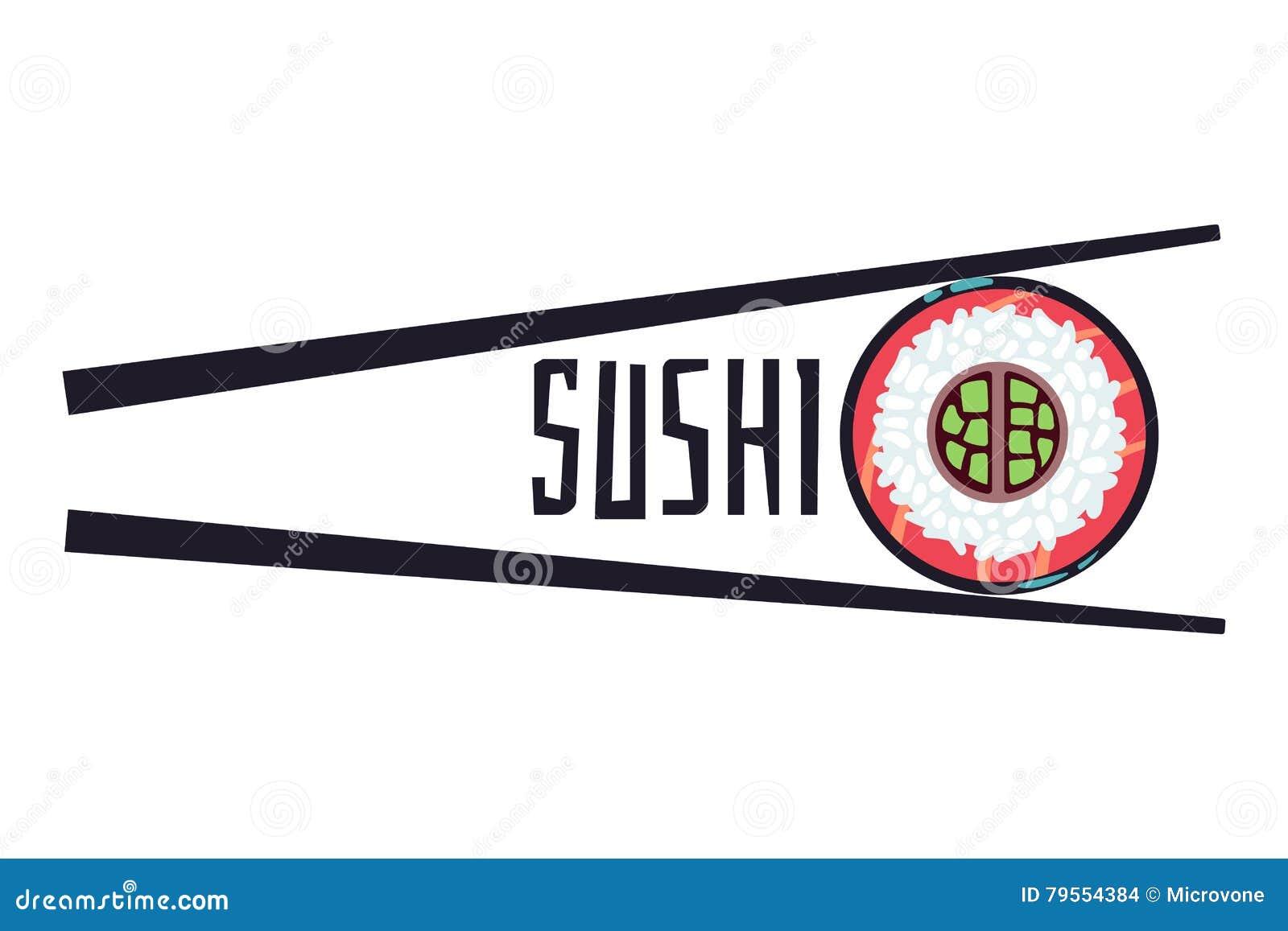 Sushi bar food logo vector template
