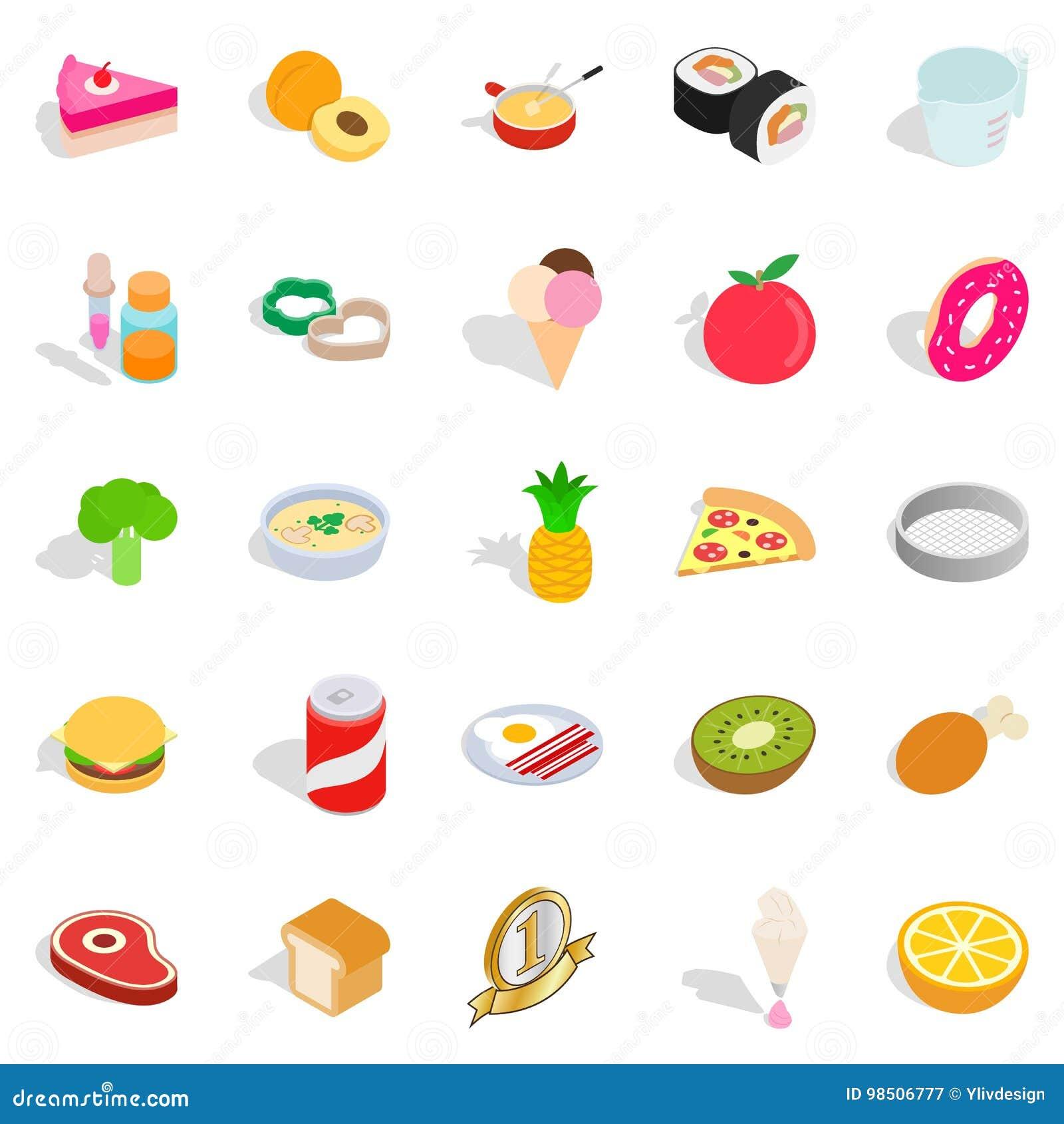 Sushi cafe icons set, isometric style