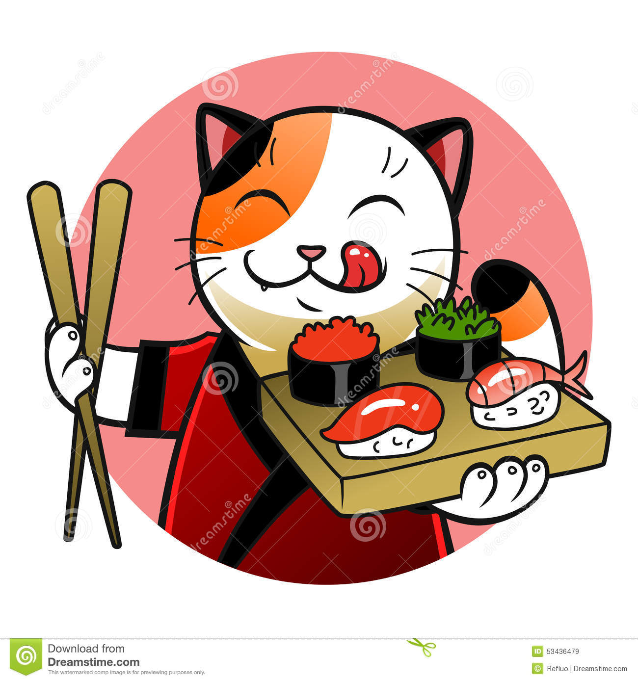 sushi chief cat stock vector   image 53436479