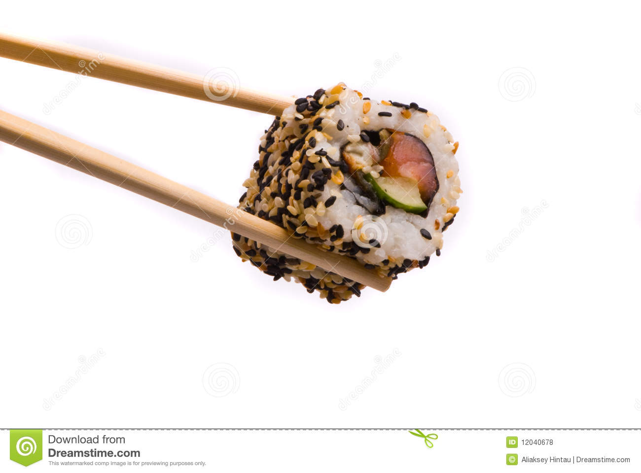 Sushi with chopsticks stock photo. Image of meal, fusion ...