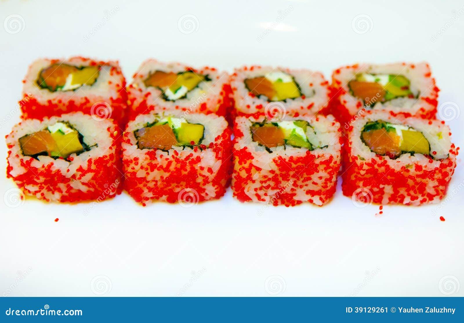 Sushi con l 39 anguilla uovo di pesce 2 del pesce volante for Uova di pesce rosso