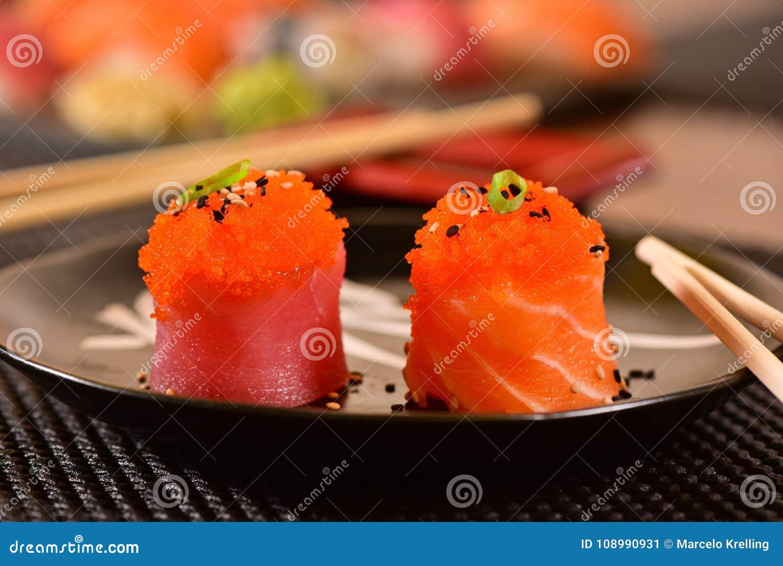 Salmon and fish eggs sushi stock image  Image of couple