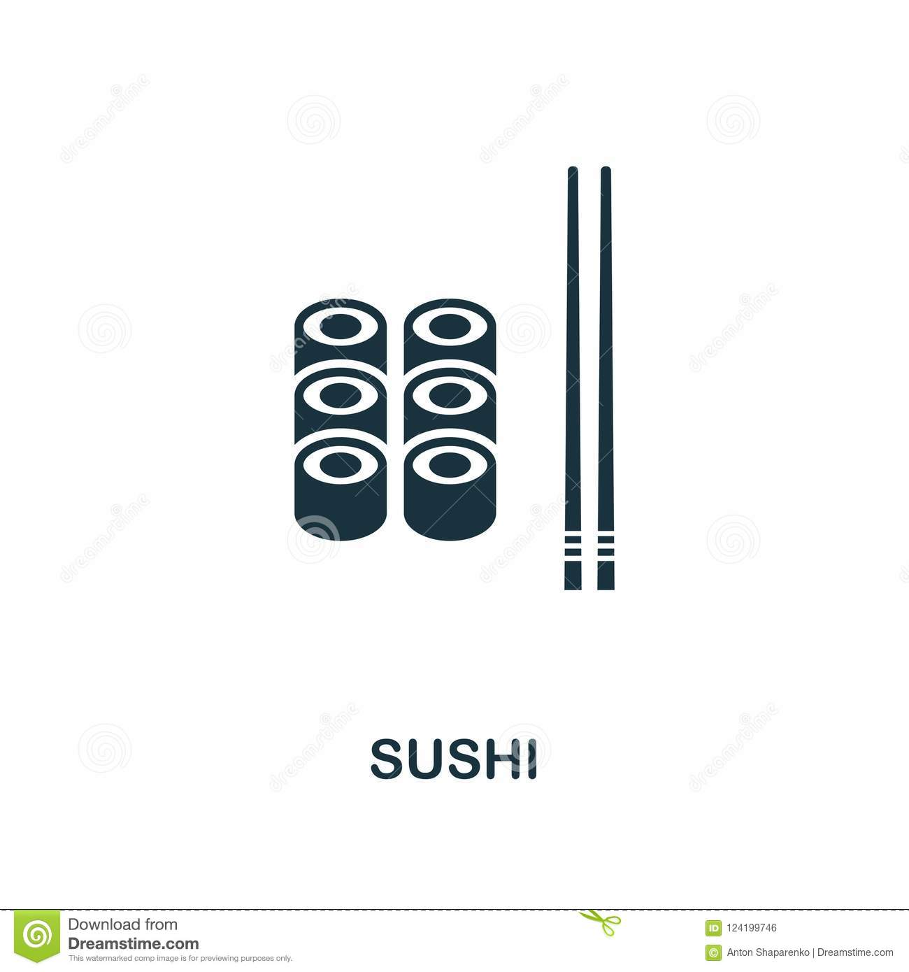 Sushi icon. Monochrome style icon design from meal icon collection. UI. Illustration of sushi icon. Pictogram isolated on white. R