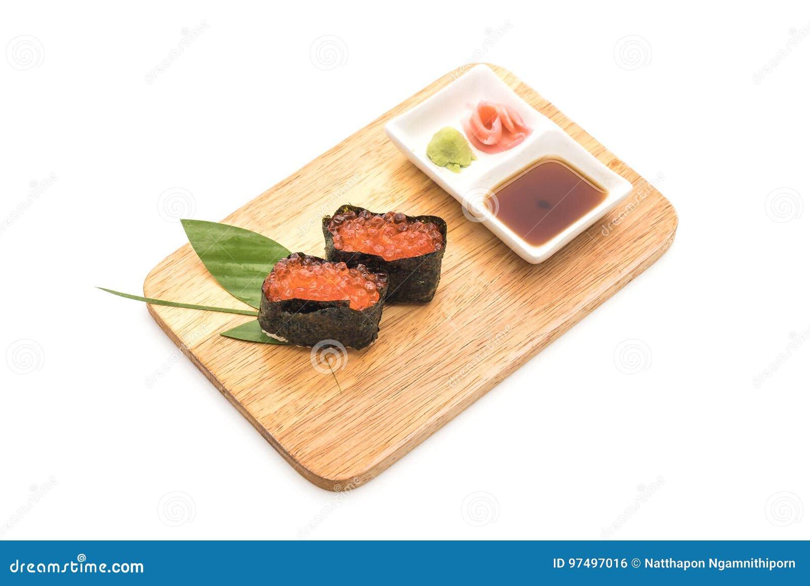 Sushi di color salmone di nigiri delle uova - stile giapponese dell alimento