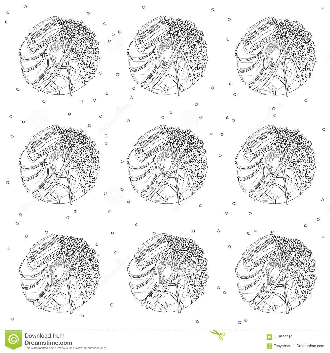 Sushi Donuts Seamless Pattern In Black And White Coloring Page