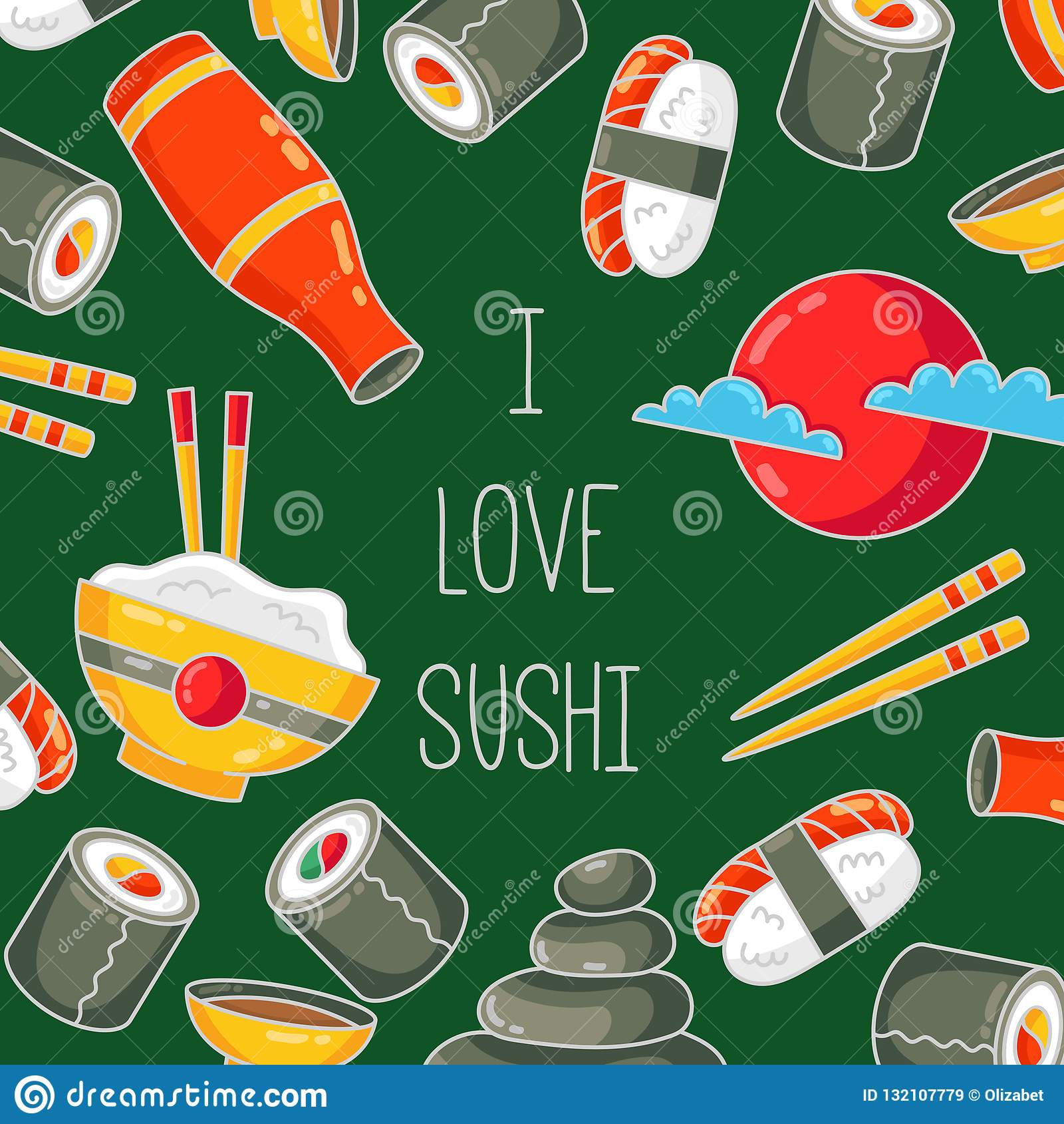 Sushi Japanese Food Cartoon Icons Banner Template Stock Vector