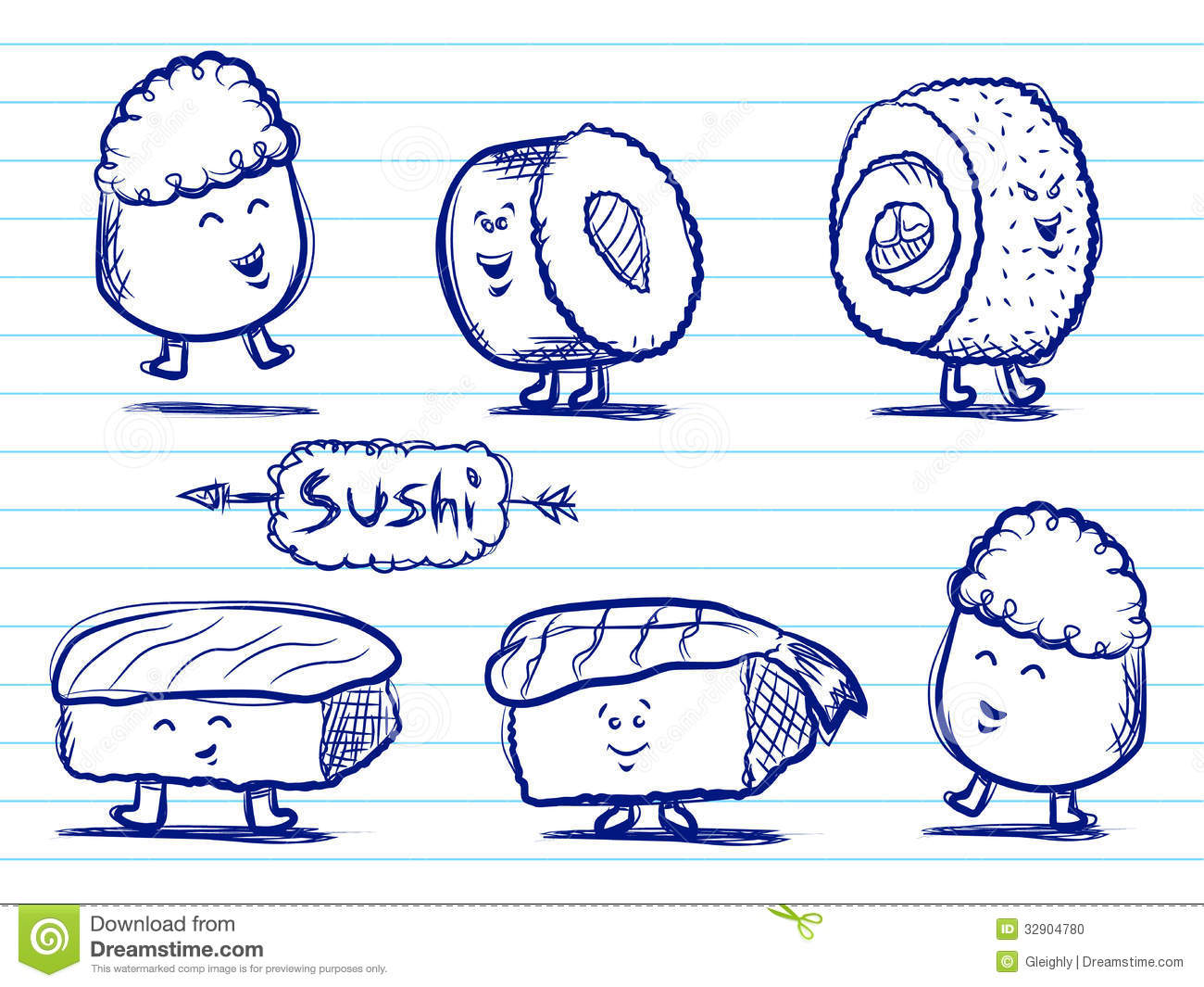 Sushi doodles stock vector image of line cartoon asia for How to doodle characters