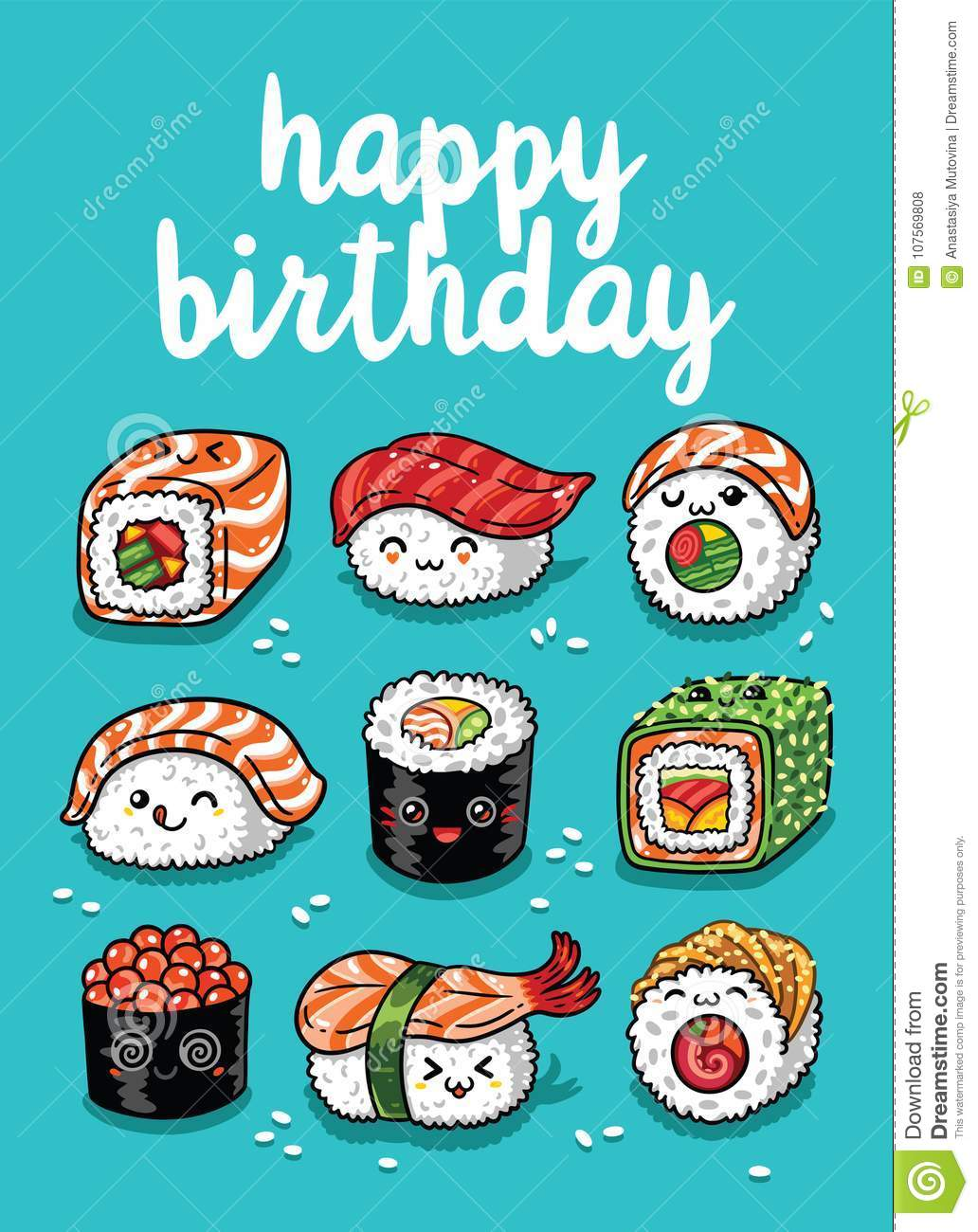 Sushi Emoji Greeting Card With Text Happy Birthday Stock Vector