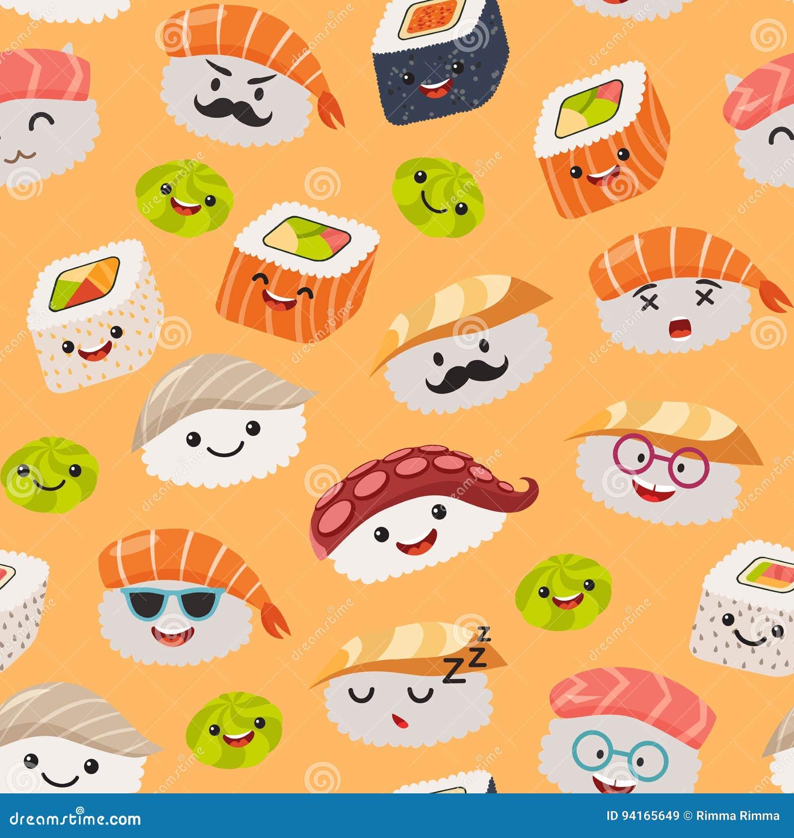 Sushi Emoji Seamless Pattern Cartoon Style Stock Vector