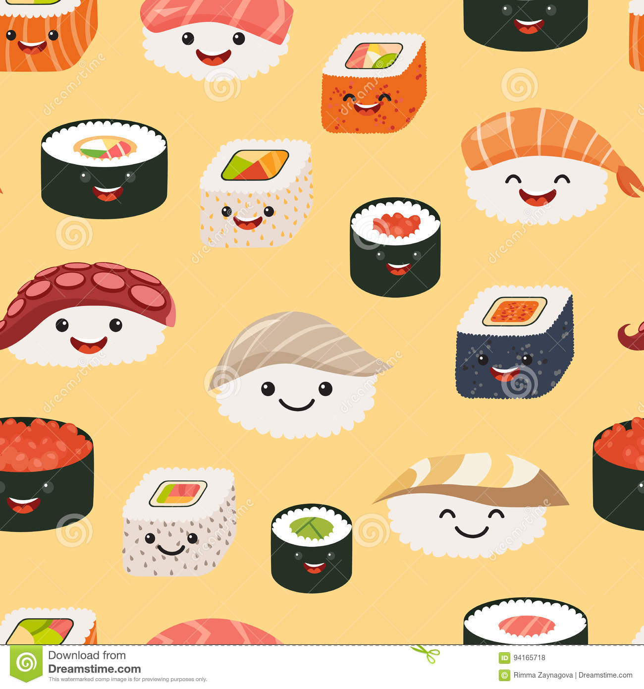 Sushi Emoji Seamless Pattern Cartoon Style Stock Vector