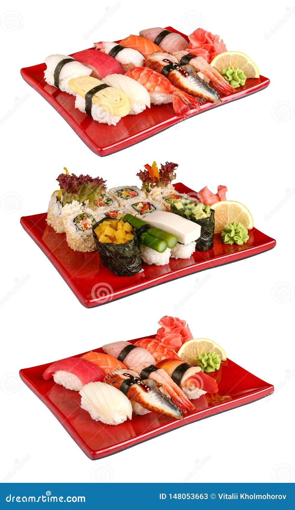 Sushi fijado en placas rojas