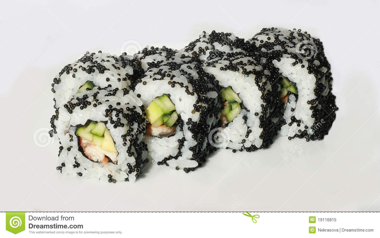 Sushi with fish and black caviar royalty free stock photo for Black caviar fish