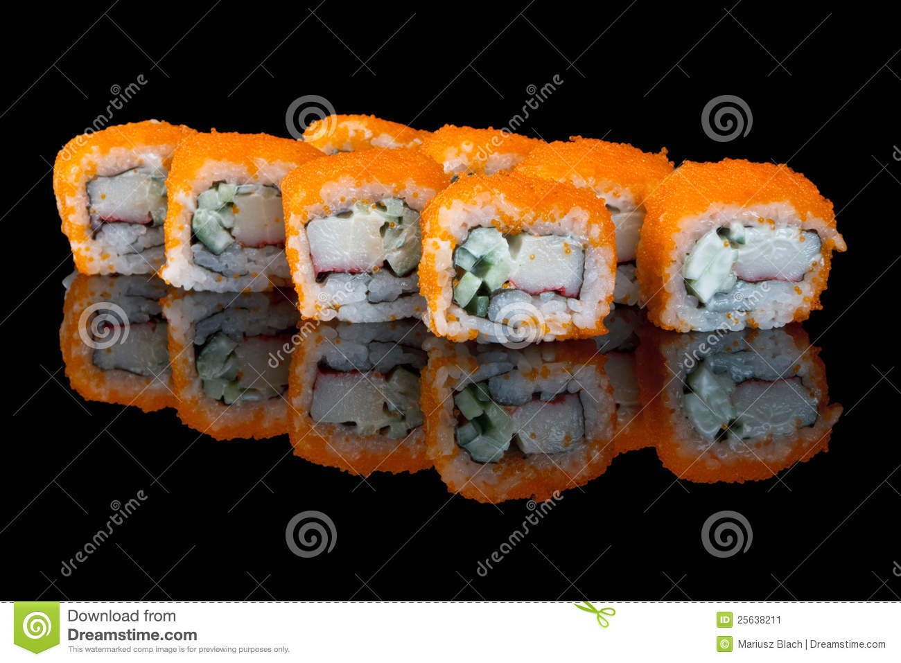 Sushi with fish eggs stock image image 25638211 for Flying fish egg