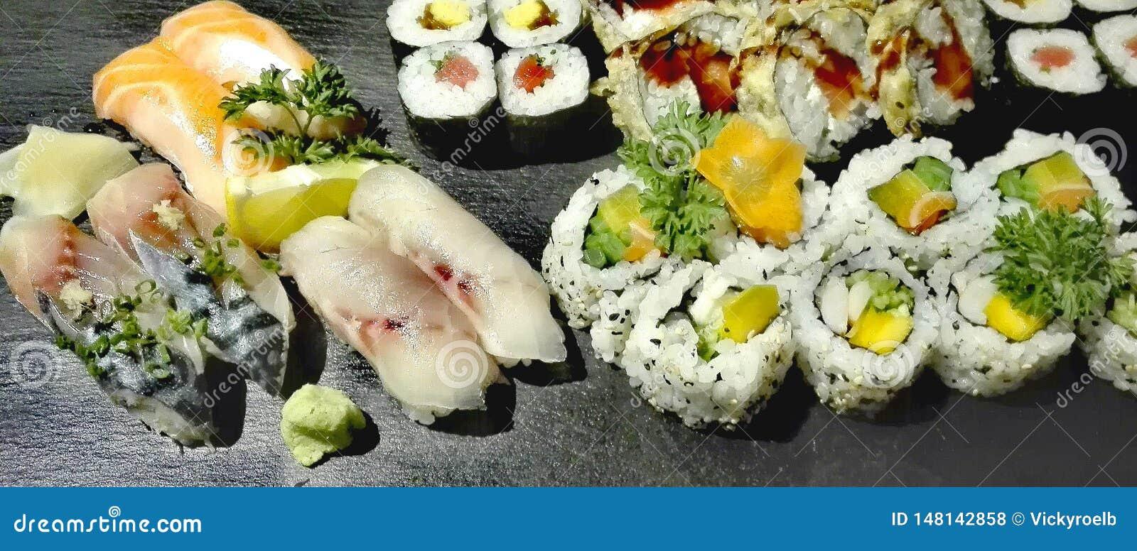 Sushi gourmet on a slate plate
