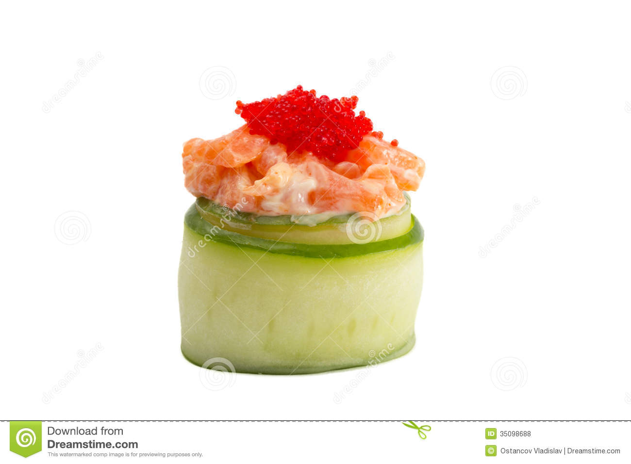 Sushi gunkan in cucumber isolated on white background