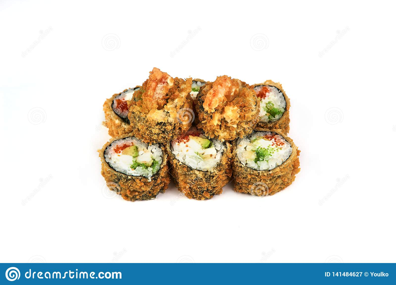Sushi, hot roll in batter a white background. Japanese food
