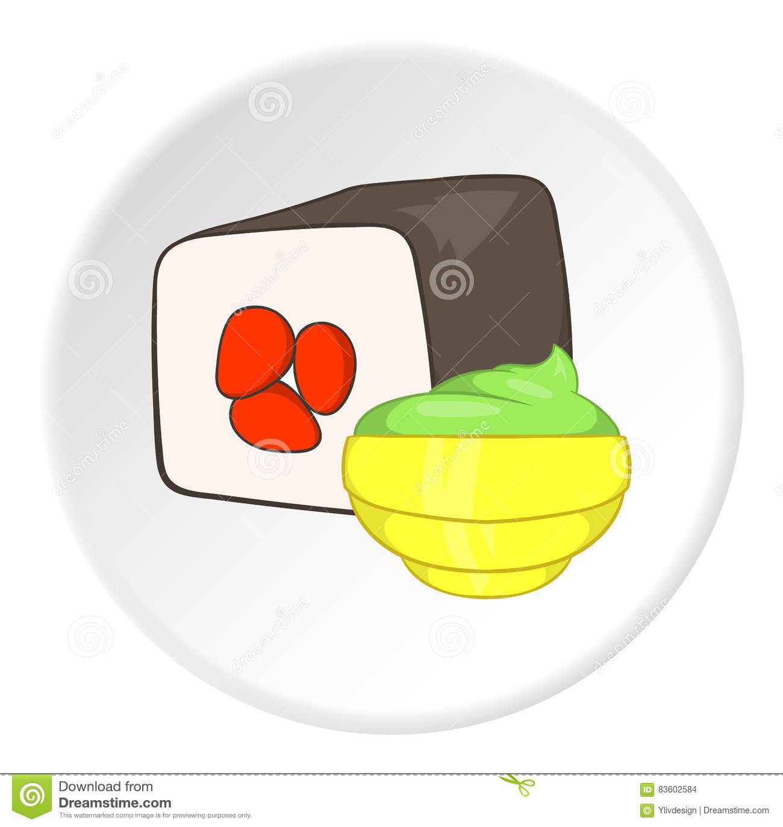 Sushi icon, cartoon style