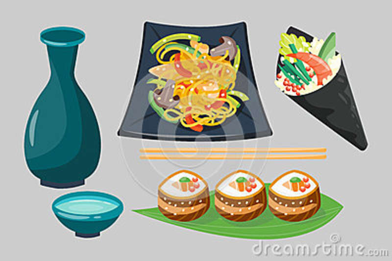 Sushi japanese cuisine traditional food flat healthy gourmet icons and oriental restaurant rice asia meal plate culture