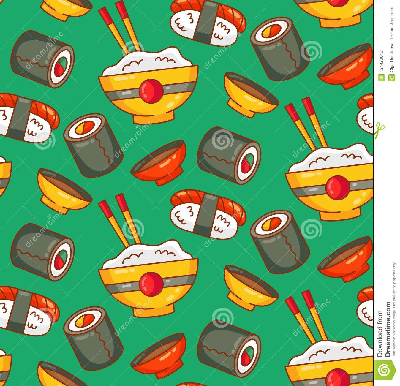 Sushi japanese food colorful seamless vector pattern