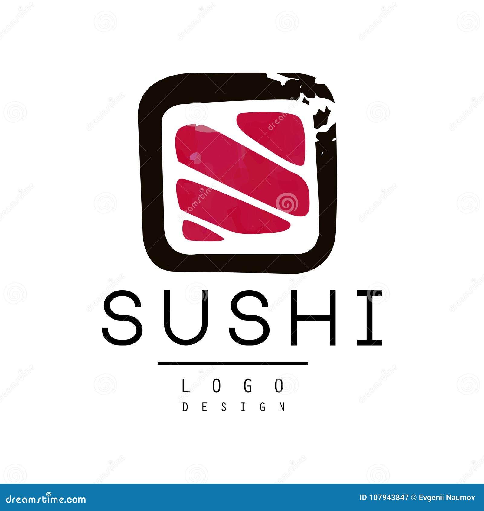 Sushi logo design, badge for sushi bar or seafood restaurant watercolor vector Illustration