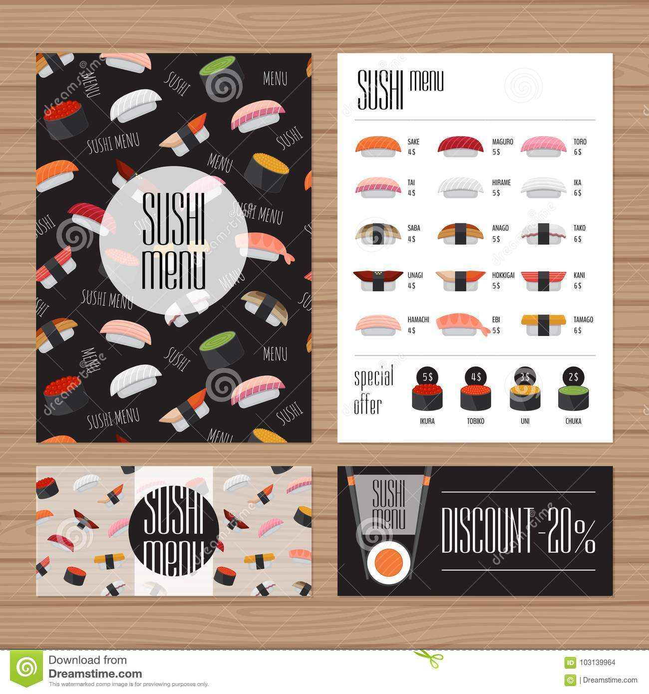 Sushi Menu Design  A4 Size And Flyer Layout Template