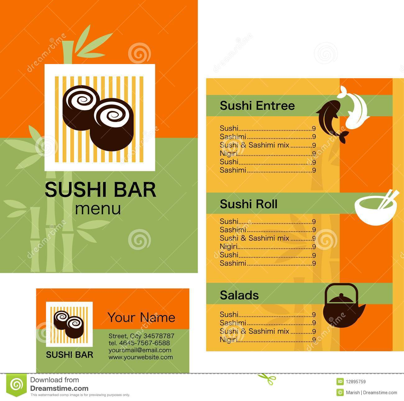 Sushi menu template and business card with logo stock vector sushi menu template and business card with logo fbccfo Images