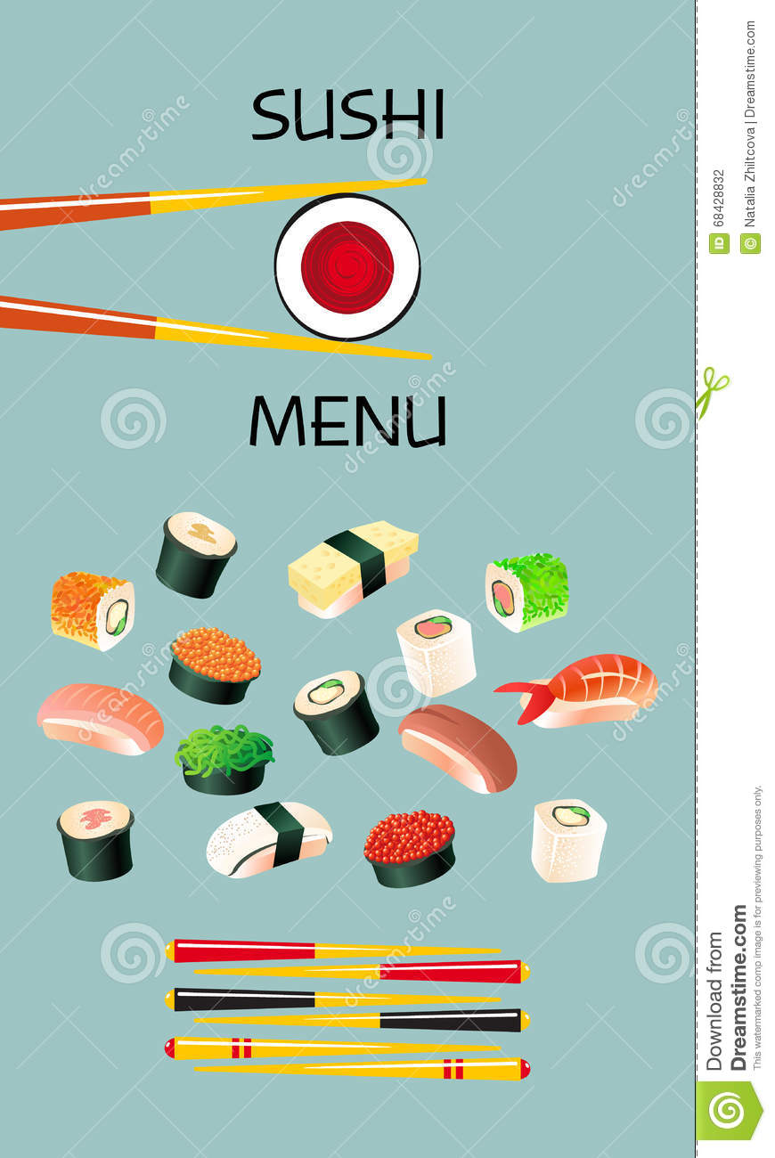 Sushi menu template japanese cuisine cartoon vector Decoration cuisine