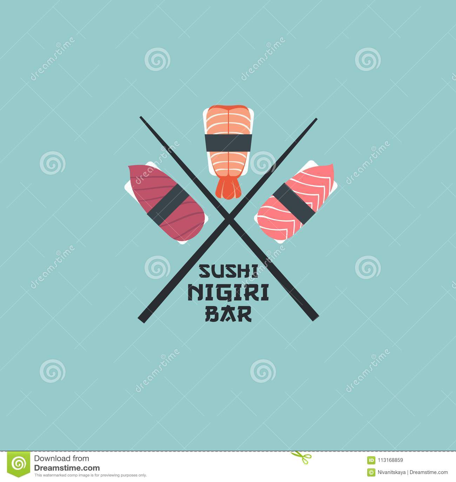 Sushi nigiri logo. Sushi restaurant emblem. Nigiri with fish and shrimps on a light background