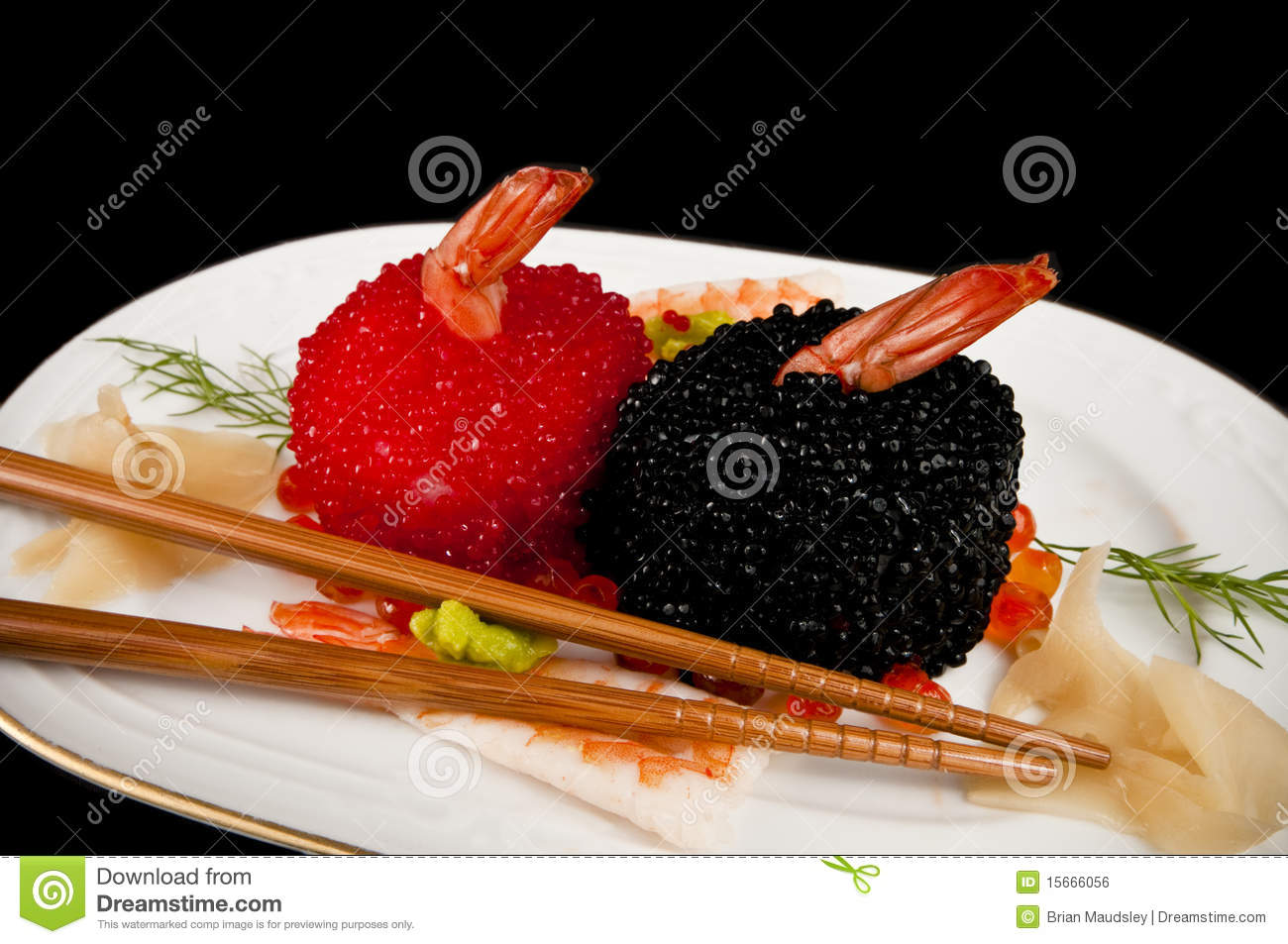 Sushi with prawns red and black fish eggs stock photo for Black fish eggs