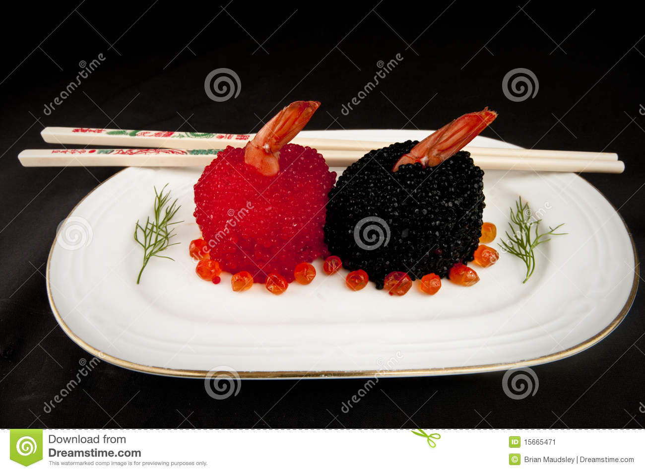Sushi with red and black fish eggs stock image image for Fish eggs on sushi