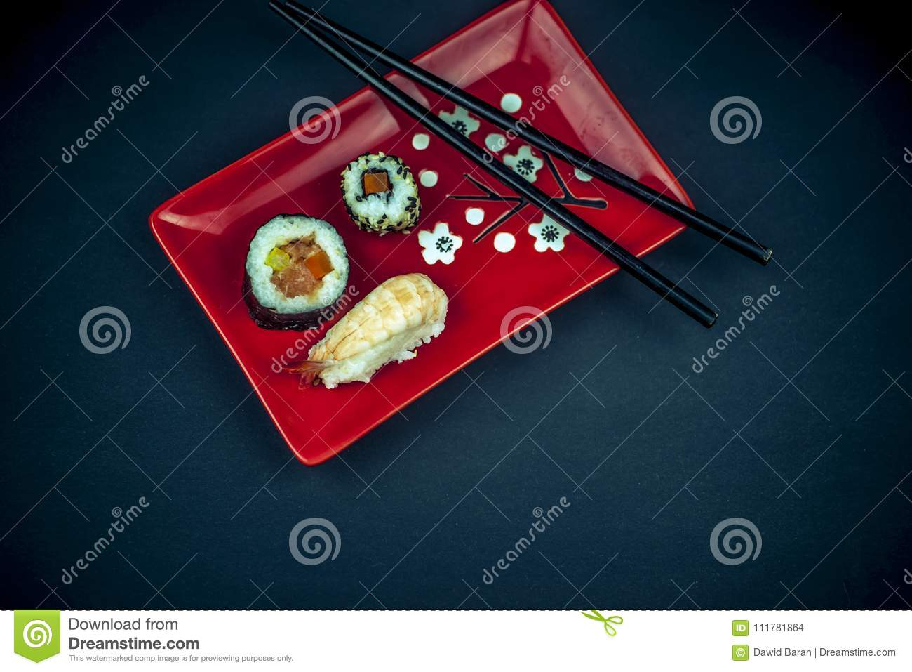 Sushi on the plate from above