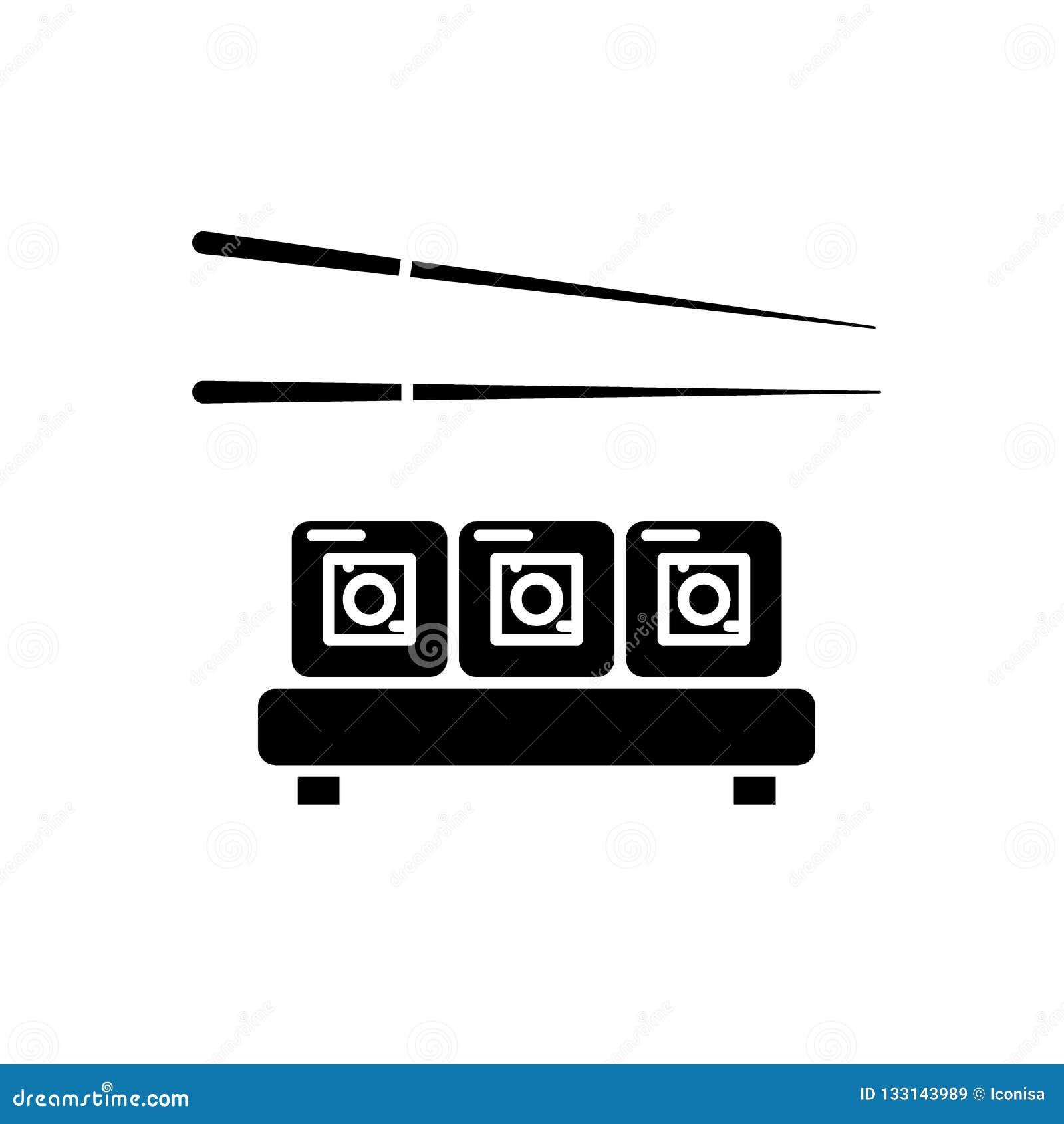Sushi restaurant black icon, vector sign on isolated background. Sushi restaurant concept symbol, illustration