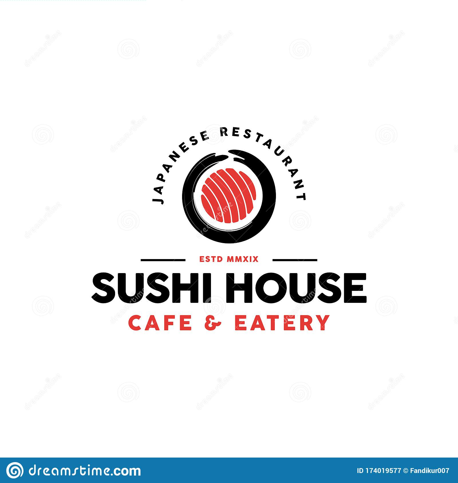 Sushi Restaurant Logo Design Inspiration Stock Vector Illustration Of Asia Abstract 174019577