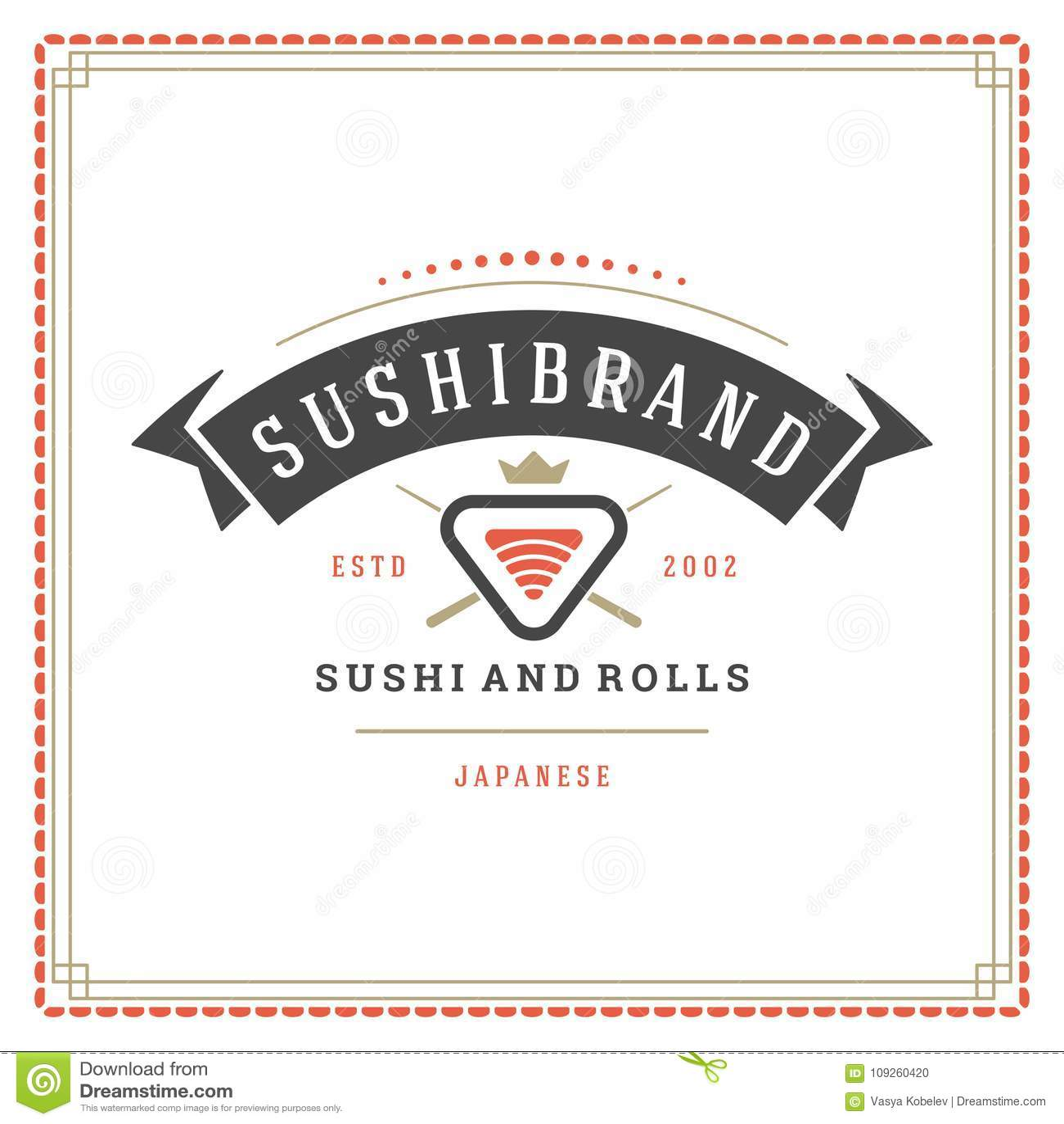 Sushi restaurant logo vector illustration.