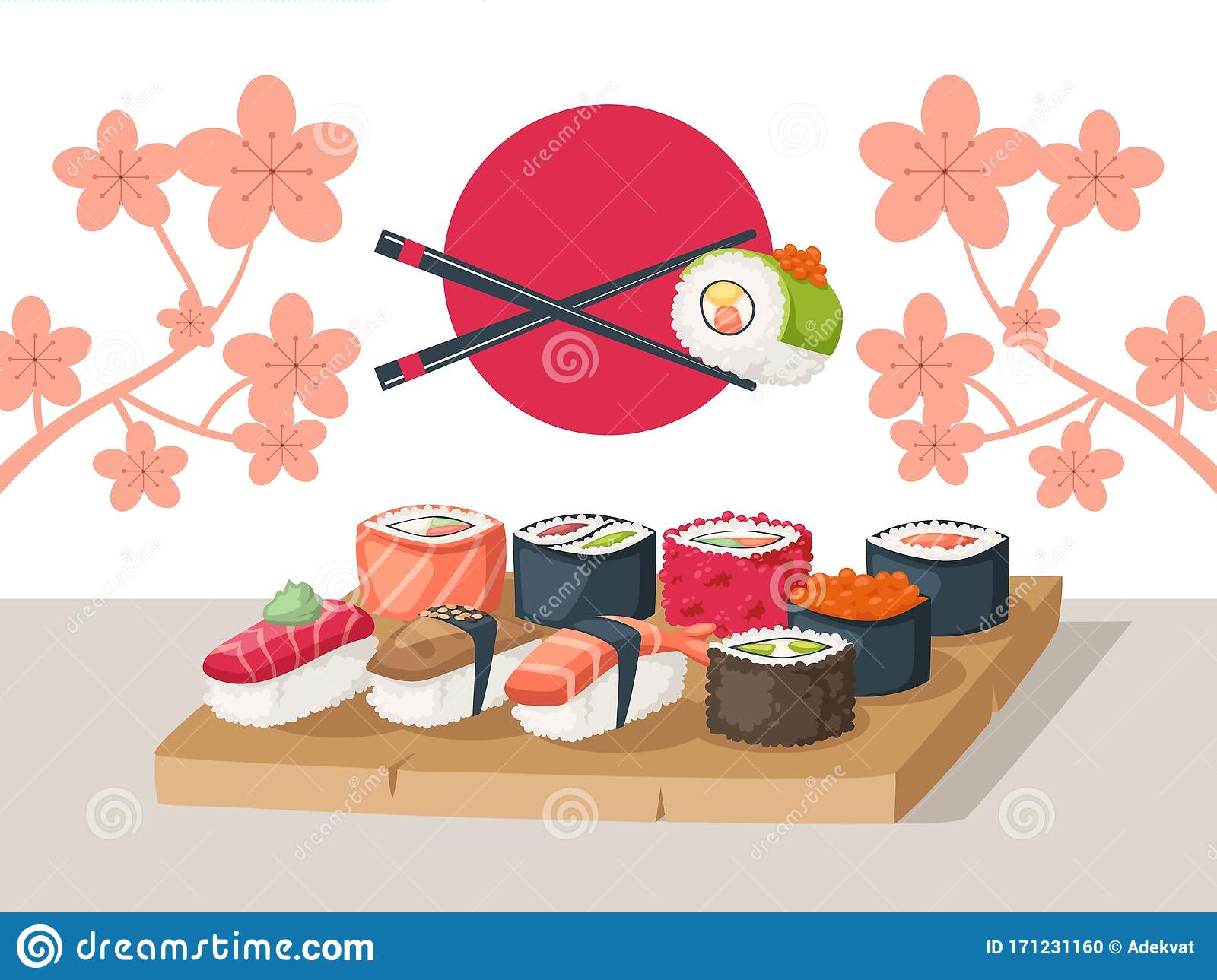 Sushi Restaurant Serving Vector Illustration Asian Food Menu Cover Sushi Delivery Advertisement Booklet Japanese Stock Vector Illustration Of Assortment Delicious 171231160