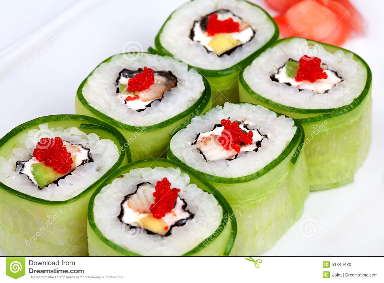 Sushi Roll With Avocado, Cucumber And Caviar Stock Photo ...