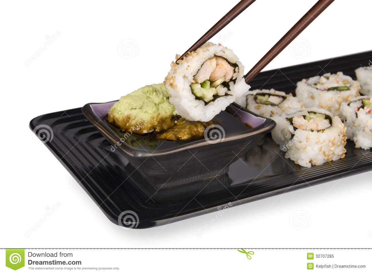 Sushi roll and chopsticks royalty free stock photo image for Crab topping for fish