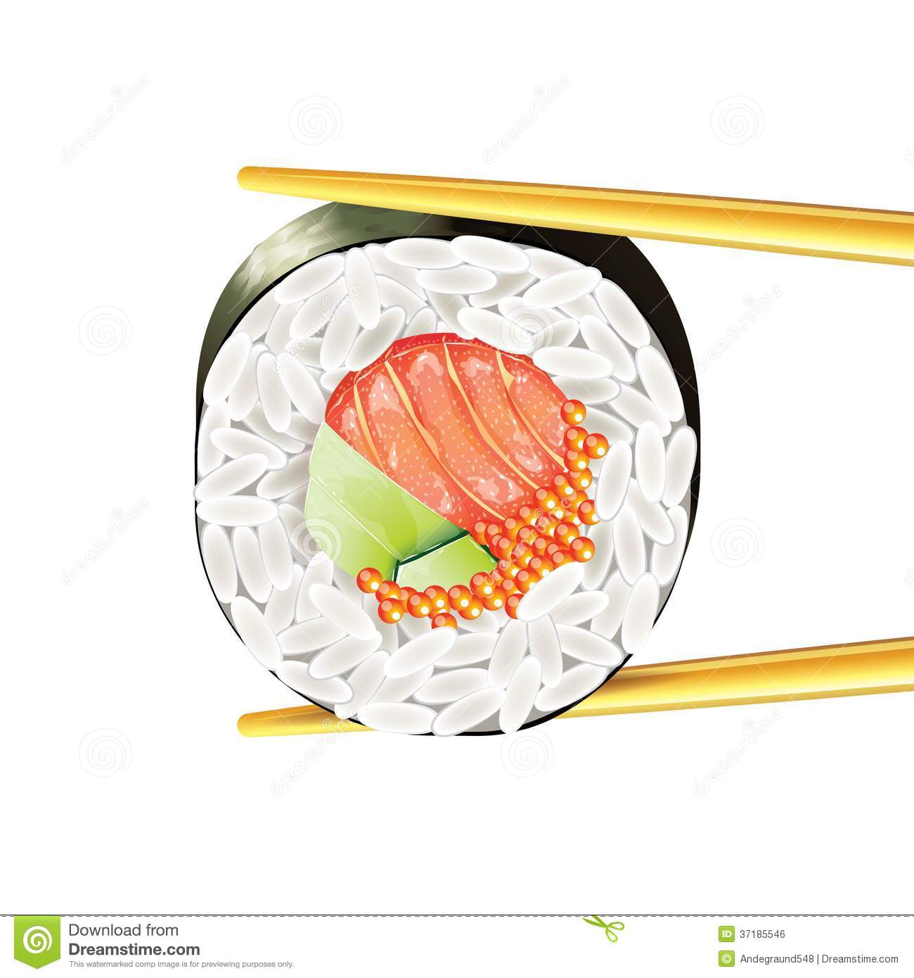 Sushi Roll In Chopsticks Vector Illustration Royalty Free Stock Image