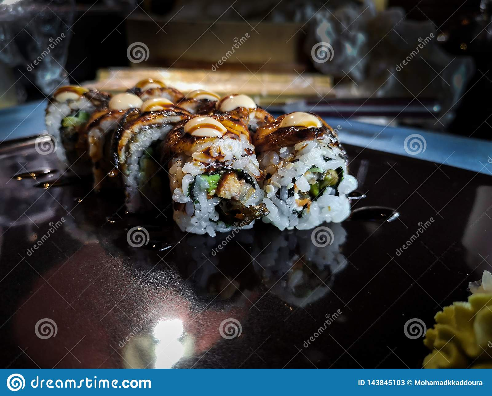 Sushi Roll With Grilled Salmon Prawn Avocado Cream Cheese Sushi Japanese Menu Stock Image Image Of Cucumber Fresh 143845103