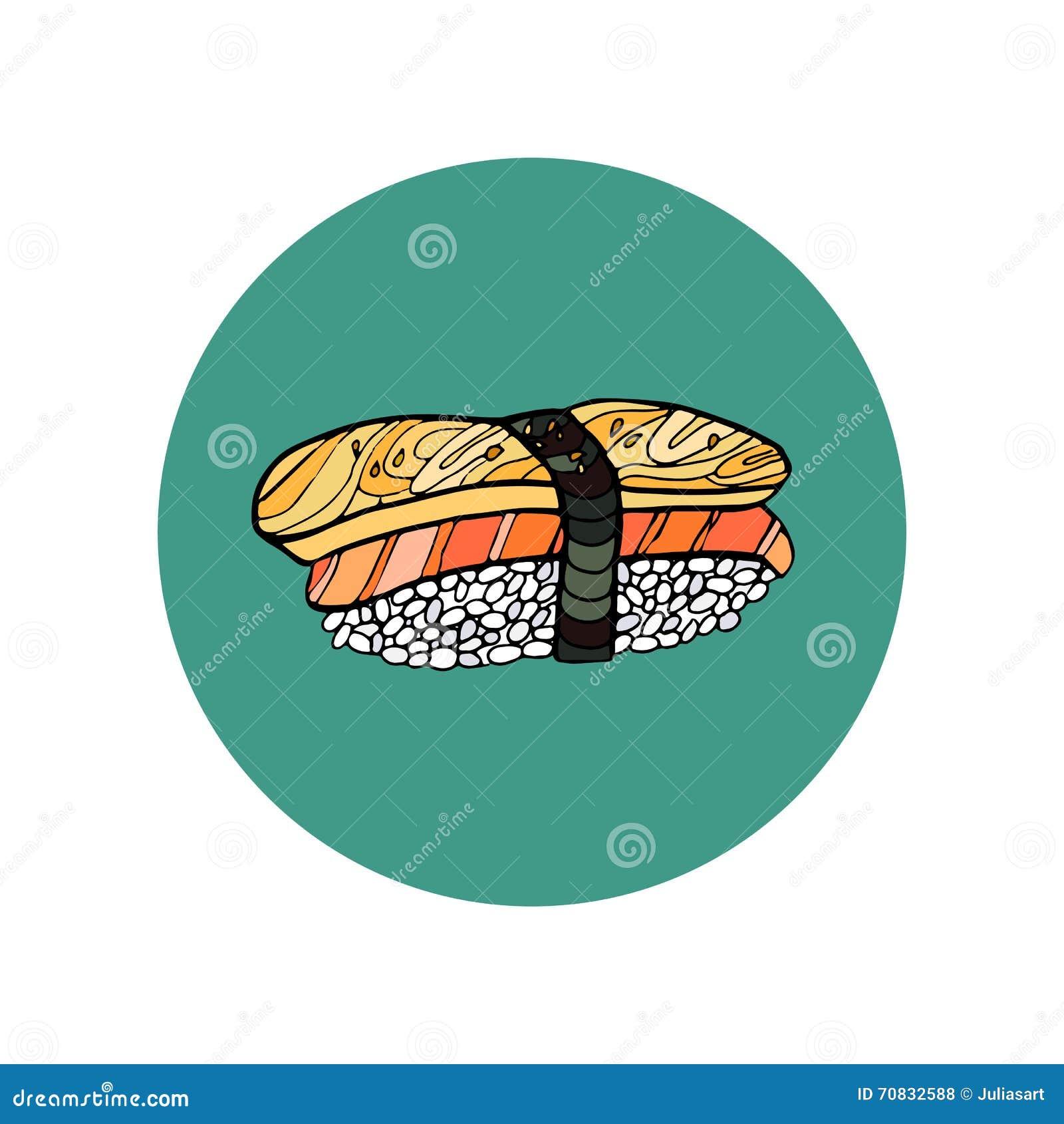 Sushi Roll Japanese Food Hand Drawn Vector Illustration